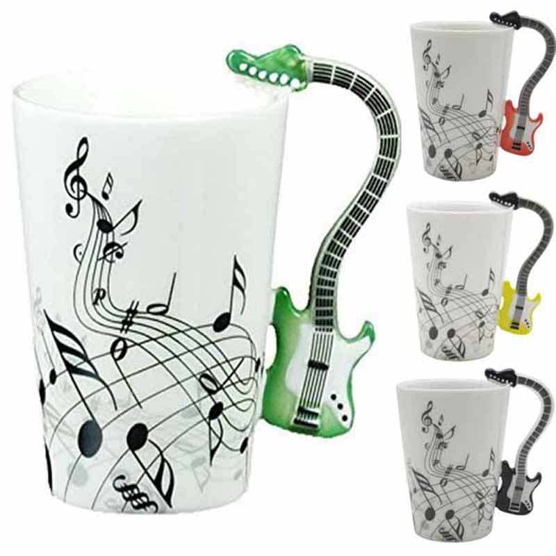 Creative Guitar Music Handgrip Mug Ceramic Mugs 300ml Coffee Cup/novelty Gift Lovers Water Cups Bottle Trinket Novelty Items(China (Mainland))
