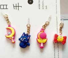 Hot Sell Valuable Cute Sailor Moon Phone Anti Dust Plug Cell Phone Accessories For Iphone4 5 6 3.5mm Earphone Jack Plug(China)