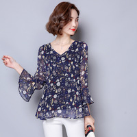 new-Bohemian-fashion-women-Ruffles-chiffon-Three-Quarter-Flare-Sleeve-spring-summer-print-v-neck-blouse.jpg_200x200