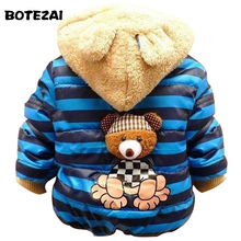 1pc Retail Baby boys Bear Winter Coat,children outerwear, Kids cotton thick warm hoodies jacket boys clothing in stock(China)