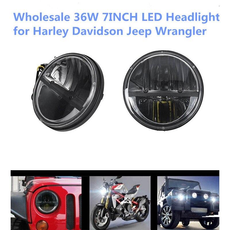 7 INCH 36W Round LED Headlight Fog Light Driving Light for Jeeps Wrangler Hummer Benz Harley Davidson<br><br>Aliexpress