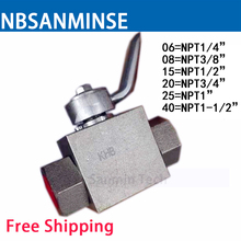 Hydraulic Ball Valve Stainless Steel 1/4 3/8 , 1/2 , 3/4 , 1 , 1-1/2 KHB - NPT Type Normal Temperature Anticorrosion Sanmin