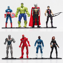 8pcs/set Avengers Age of Ultron Hulk Thor Iron Man Captain America Hawkeye Black Widow Quicksilver PVC Figure Toys Free Shipping