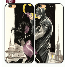 Catwoman and Batman Couple Cellphone Hard Case Cover for iphone 4/4s/5/5s/6/6plus/7 7plus/8/8plus(China)
