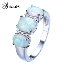 Bamos New Sale Unique Round Fire Opal Ring White Gold Filled Crystal Jewelry Vintage Wedding Party Rings For Men And Women