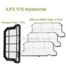 Original ILIFE V7S Primary Filter 1 pc and Efficient HEPA Filter 3 pcs of Robot vacuum cleaner parts from the factory