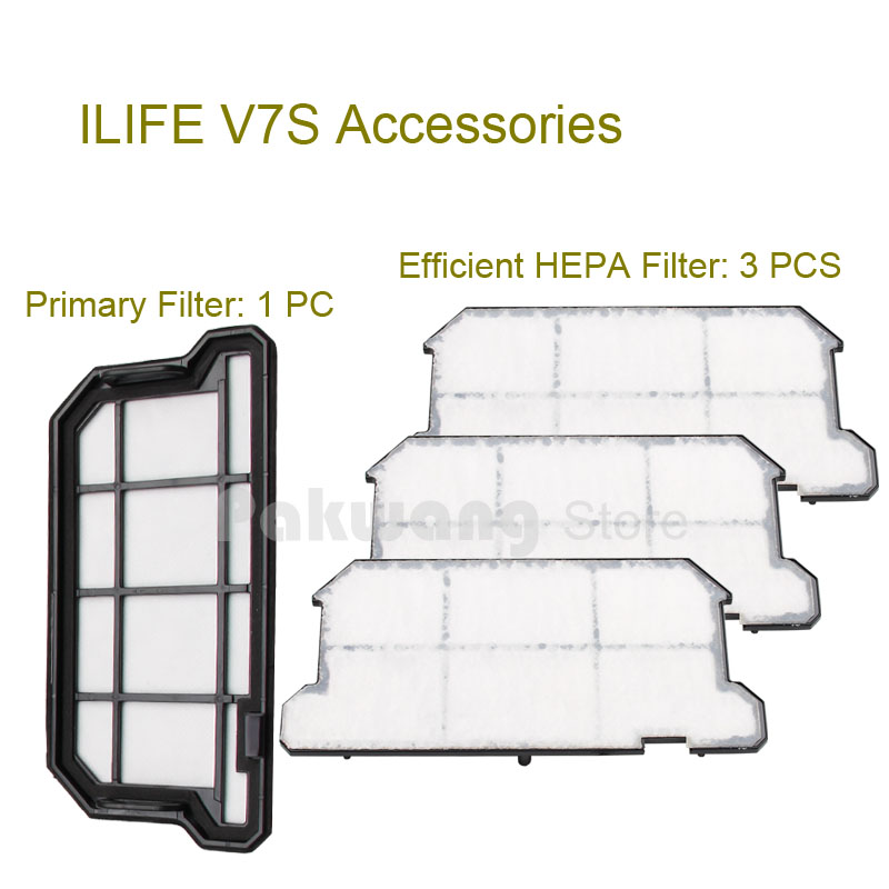 Original ILIFE V7S Primary Filter 1 pc and Efficient HEPA Filter 3 pcs of Robot vacuum cleaner parts from the factory<br>