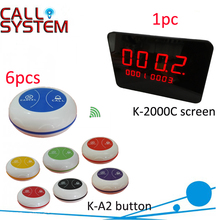 Top Popular Coffee Shop Service Restaurant Waiter Buzzer Table Call Button Guest Paging System(1 display 6 button)(China)
