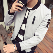 2016 Autumn baseball jacket collar jacket tide wild solid color XL Korean youth men's leather armband