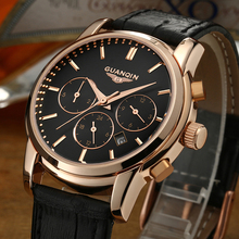 GUANQIN Quartz Original Brand Watch Men Chronograph Functions Life Waterproof Multifunction Business Leather Strap Wristwatches