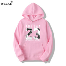 WZZAE Autumn 2017 New Women/Men's Casual Players JORDAN 23 Print Hedging Hooded Fleece Sweatshirt Hoodies Pullover Size M-XXXL(China)