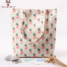 Raged Sheep Fashion Tote Shopping Bags Cotton Grocery Bags Folding Pineapple Printed Shopping Cart Eco Grab Bag