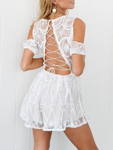 Buy Chulianyouhuo 2017 Women Summer Clubwear Deep V Neck Shoulder Bandage Party Lace Dress Backless Lady 2 colors Sexy Dress for $23.99 in AliExpress store