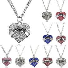 5PCS/lot Clear Pink Blue Rhinestones Engraved MOM Sister NANA Daughter Pendant Necklace Women Jewelrys(China)