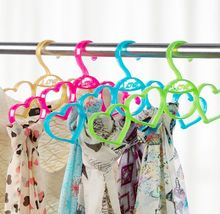 Scarf Hanger Hangers 5 Ring Hole heart shape Tie European Clothes Scarves plastic Storage Rack Clothes Save Space hanger Cabide