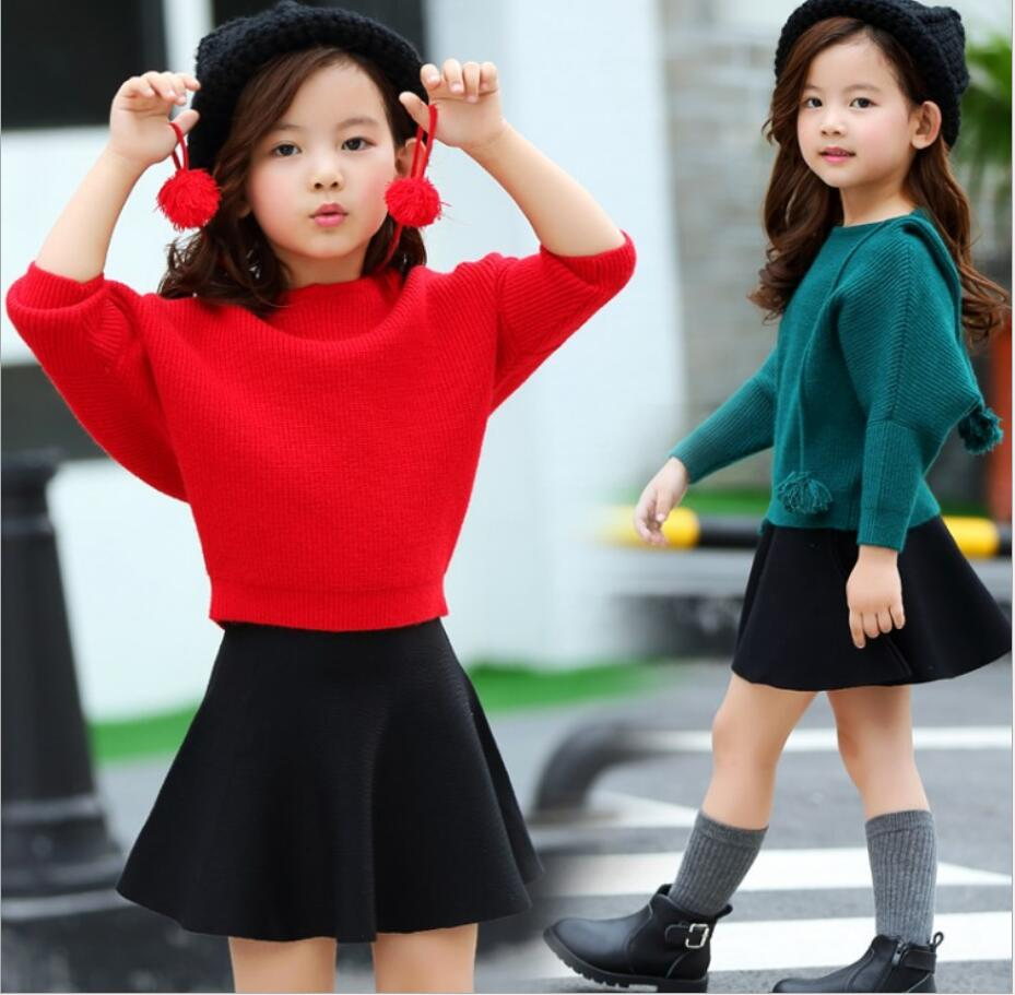 2017 Spring Kids Girls Outfits Baby clothes Girls Sets children Long Sleeve Knitted sweaters+Skirts 2pcs suits 2-10 Y HW2041<br>