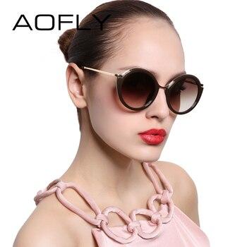 Aofly moda rodada do vintage óculos de sol das mulheres de design da marca óculos de sol óculos pernas liga shades lunettes de soleil af7909