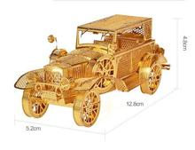 Classic car model Gold color 3D DIY laser cutting car model educational diy toys Jigsaw Puzzle best birthday gifts DIY FUN