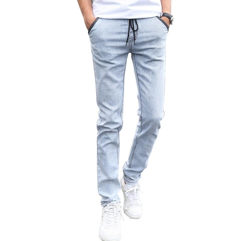 Mens Denim Jeans Men Drawstring Slim Fit Denim Joggers Men Stretch Pockets Jean Pencil Pants Casual Blue Jeans Man Big Size 38Одежда и ак�е��уары<br><br><br>Aliexpress