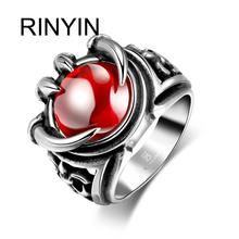 Hot Sale Finger Art Antique Silver Retro Titanium Stainless Steel Ring Punk Biker Jewelry Evil Claw Ring with aRuby
