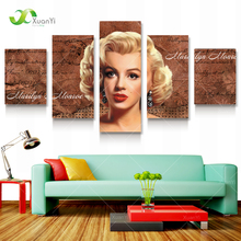 5 Panel Modern Canvas Prints Marilyn Monroe Canvas Art  Paintings Home Decor Large Wall Pictures For Living Room Unframed XY111