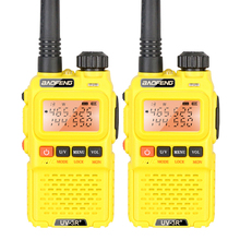 2PCS Yellow Baofeng UV-3R+ Ham Two Way Radio Professional Dual Band Intercom Two Way Transceiver Communicator(China)