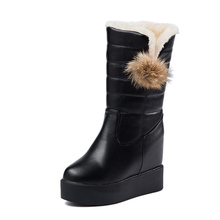 2017 New Flat Platform Women Boots Winter Fur Snow Boots for Ladies Wedge Shoes Heel Hidden Short Boots for Woman Big Size 35-40(China)