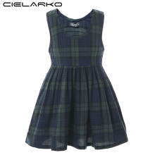 Cielarko Kids Girls Plaid Dress Children Sleeveless Casual Cotton Linen Classic Dresses Baby Vintage Frock for Girl 2 - 13 Years