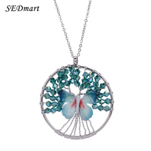 SEDmart Cute Blue Pink Butterfly Tree Of Life Pendant Necklace Glass Beaded Long Chain Maxi Sweater Necklace For Women