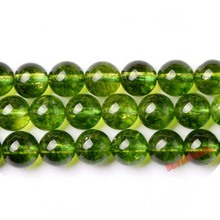 "Fctory Price Natural Stone Smooth Olive Green Quartz Loose Beads 16"" Strand 6 8 10 12 MM Pick Size For Jewelry Making diy(China)"