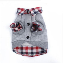 Dog Grid Sweater Puppy Warm Coat T-Shirt Pet Clothes POLO Shirt Dog Apparel(China)