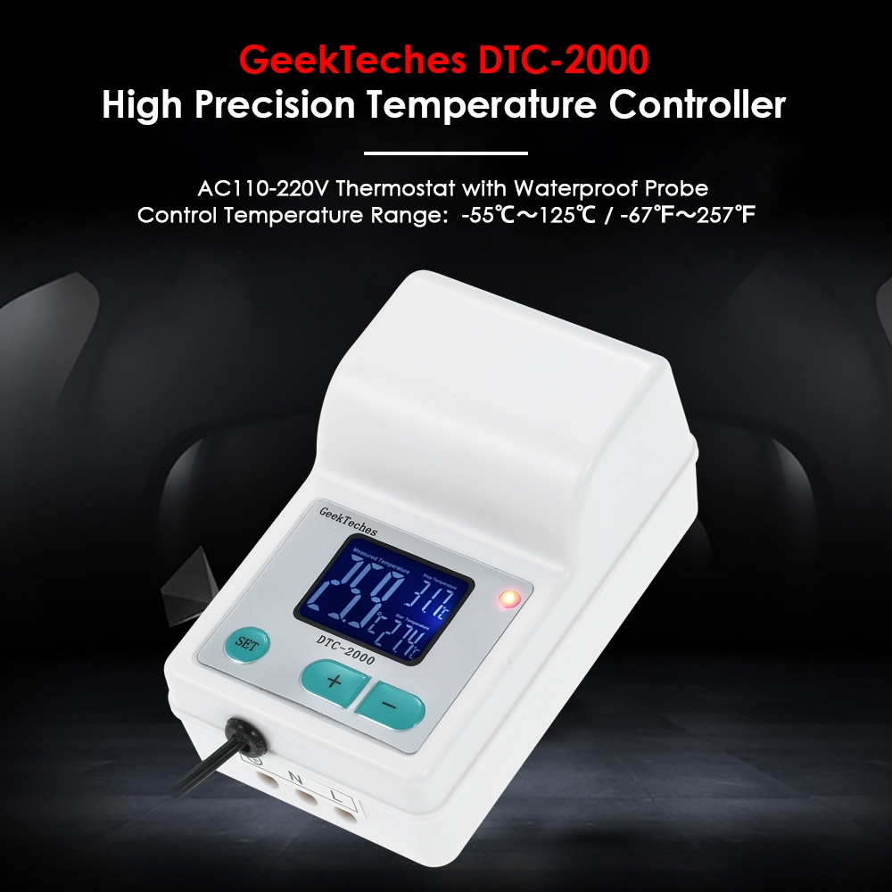 DTC-2000 AC110-240V 10A Thermoregulator Digital Water Temperature Controller Thermocouple Thermostat + Waterproof Sensor Probe