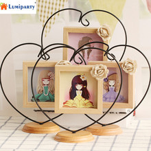 LumiParty Novel Opening Decorative Iron Heart-shape Wooden Picture Frame, Thickening Pine Square Table Photo Frame 25