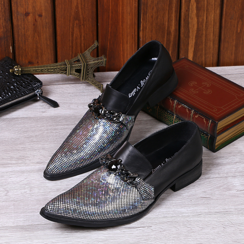 Italian Designer Genuine Leather Men Dress Shoes Pointed Toe Wedding Men Shoes High Quality Sequin Loafers Men Flats Slip-on<br><br>Aliexpress