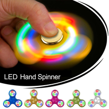 Fidget LED Spinner Flash Light Hand Spinner EDC Tri Finger Spiner For Autism and ADHD Relief Focus Anxiety Stress relax toy Gyro