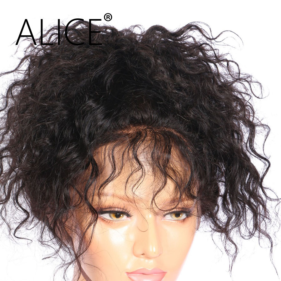 ALICE Pre Plucked Full Lace Human Hair Wigs With Baby Hair Curly Brazilian Virgin Hair Wigs For Black Women Bleached Knots(China (Mainland))