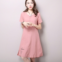 Buy Linen Dresses Simple Printing 2016 Summer New Women's National Wind Casual Short-sleeved Cotton Linen Dress Plus Size CX069 for $11.96 in AliExpress store