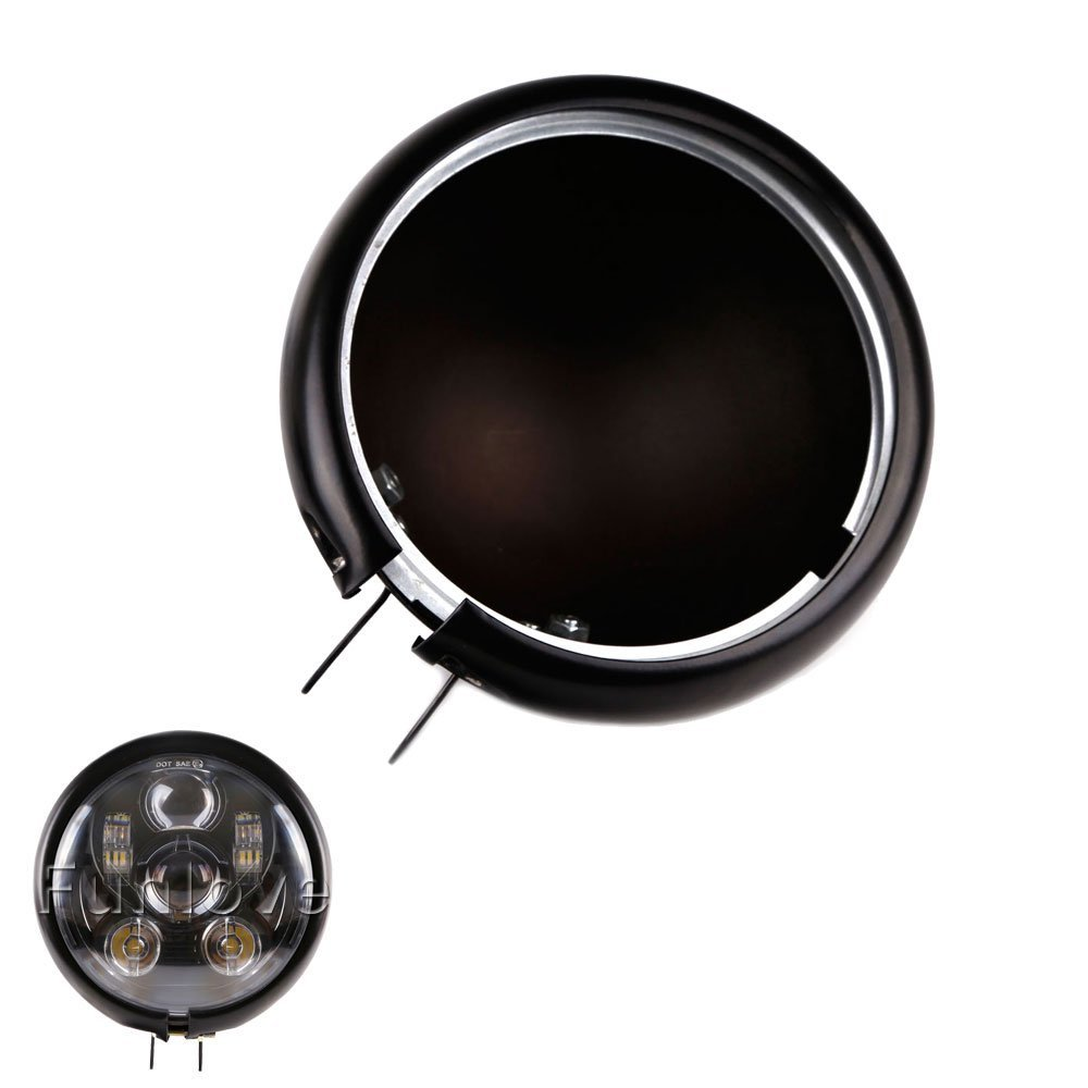 5 3/4 black round motorcycle 5.75 inch LED headlight housing Bucket for Harley Davidson FXWG Chopper Headlight Housing<br>