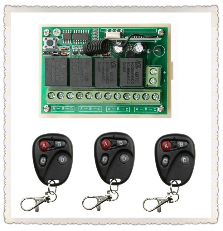 DC12V 4CH 10A Wireless Remote Control Switch System teleswitch 1*Receiver + 3 *Transmitters for Appliances Gate Garage Door<br><br>Aliexpress