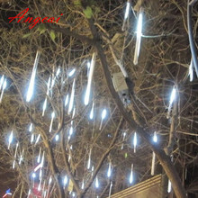 30cm 144 LED Light Meteor Shower Falling Rain Drop Snow Fall Xmas String Lights,Outdoor tree