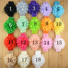 Baby Kids Crochet Super Stretchy headband with chiffon large flower U Pick Colors