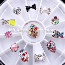 12 Mixed Styles Nail Art Glitter Rhinestones Wheel Metal Bow Tie Decorations Design Tools Jewelry #14 - Lucky Store store