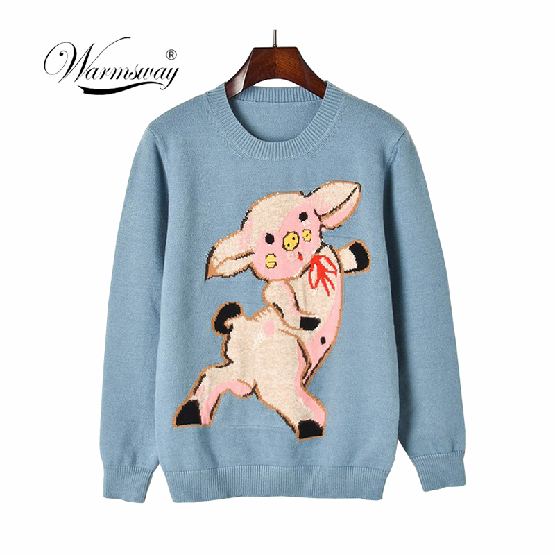 2019 New Runway Jacquard Knitted Pullover Blue Cute Pig Pattern Sweet Knitted Sweater Fashion Jumper sueter mujer C-075