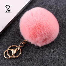 Cute Mini Metal Hairball Plush Pompon Keychain Car Key Chain Ring Bag Pendant Valentines Day Festival Gifts Party Favor Supplies