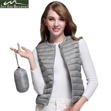 2017 New Women 90% White Duck Down Vest Women's Ultra Light Duck Down Vest Jacket Autumn Winter Round Collar Sleeveless Coat(China)