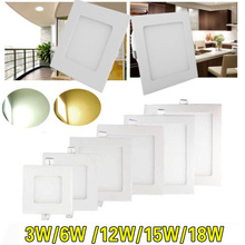 AC85-265V ultra-thin led square panel light 3W 6W 9W 12W 15W 18W Home Furnishing decorative light white and warm white optional