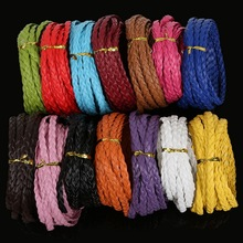 5meters 7mm Width Mix Color Flat Braided PU Leather Cord Rope String Beading Cords For Necklace Bracelet DIY Jewelry Findings