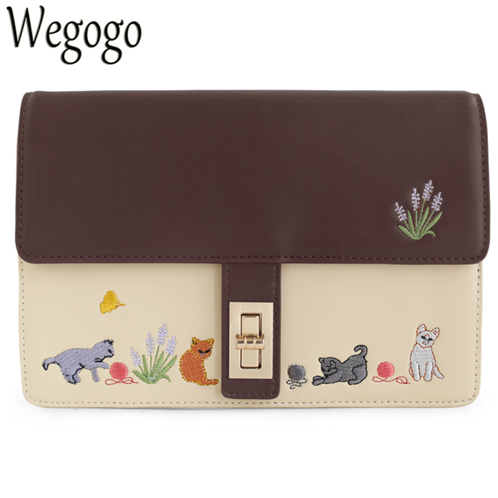 Women Handbag Vintage Retro Cat Saddle Brown Animal Embroidery Faux Leather PU Shoulder Messenger Crossbody Bags Totes Clutch<br>