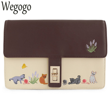 Women Handbag Vintage Retro Cat Saddle Brown Animal Embroidery Faux Leather PU Shoulder Messenger Crossbody Bags Totes Clutch(China)