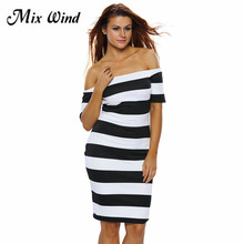 New Fashion Party Sexy Mix Wind High Street Women Formal  Slash Neck Black White Striped Off the Shoulder Mini Dress